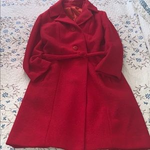 Vintage red wool tweed union made trench coat
